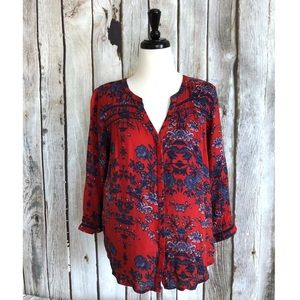 Lucky Brand Floral Button Up Peasant Blouse